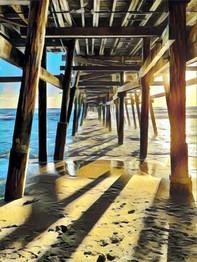 Under the San Clemente Pier.  Digitally Enhanced Photograph by Virginia Crowe