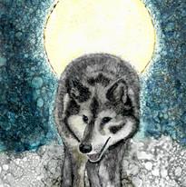 Alcohol Ink Wolf Virginia Crowe