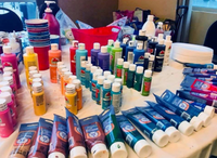Paint table set up at Paint Party