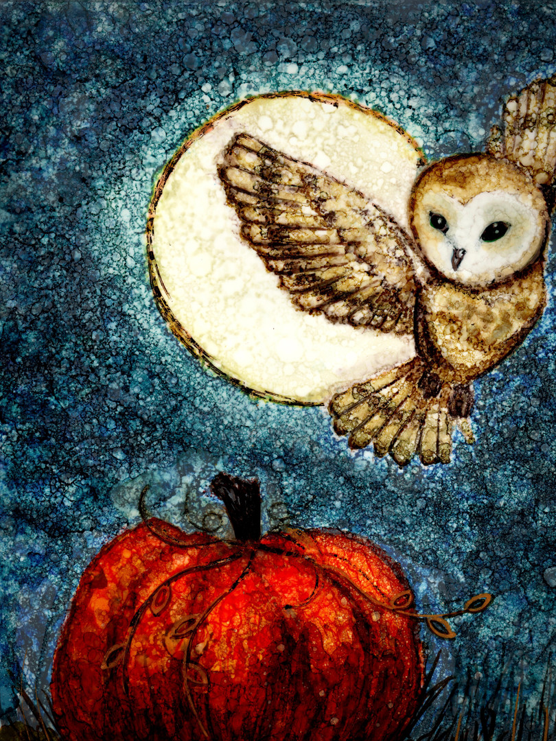 Owl and the Harvest Moon