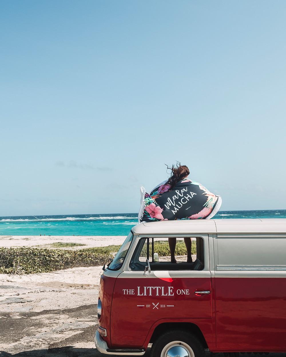 Round Beach Towel Camper Van