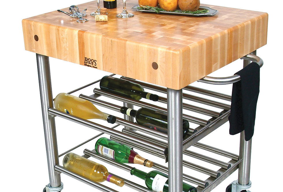 Cucina D'Amico Wine Cart in Maple (John Boos + Co)
