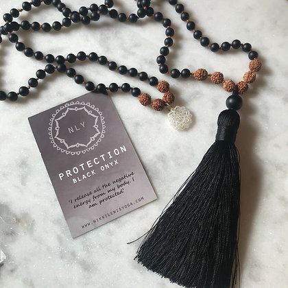 PROTECTION 108 Black Onyx Mala beads