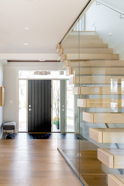 White Oak Cantilever Stair with Curtain