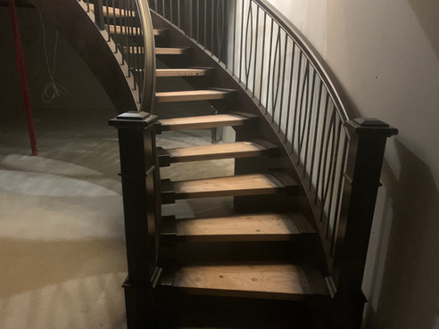 Curved Staircase with Wall End Carpet Tr