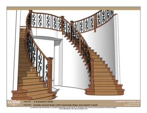 Double Curved Stairs with Commode Steps and Carpet Treads_2