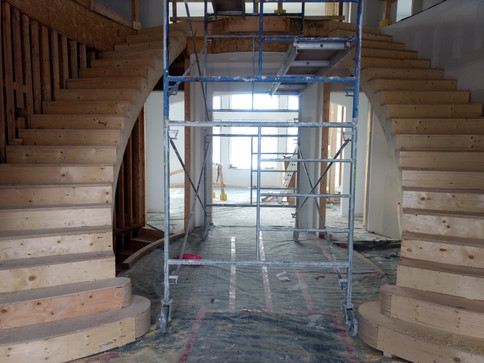 Double Curved Stairs with Commode Steps and Carpet Treads_3