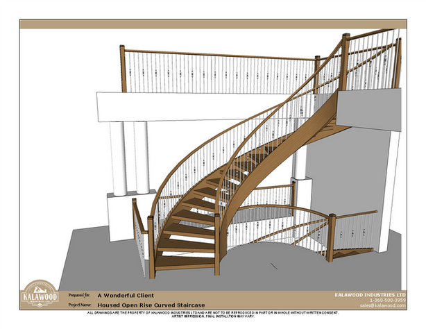 Housed Open Rise Curved Staircase with Butcher Block Treads_1