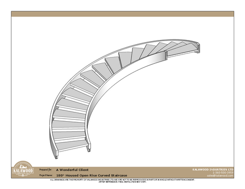 180 Housed Open Rise Curved Staircase