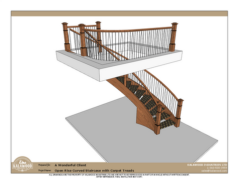 Housed Open Rise Curved Staircase with Carpet Treads_1