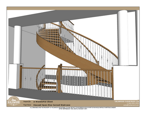 Housed Open Rise Curved Staircase with Butcher Block Treads_3
