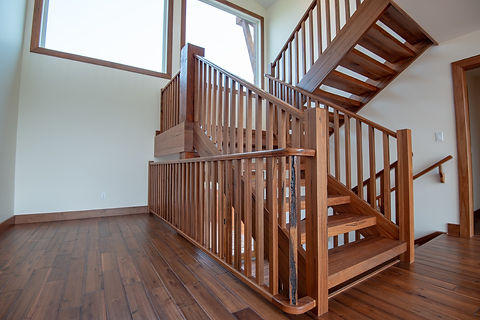 Clear Laquered Medieval Walnut Stairs and Railings