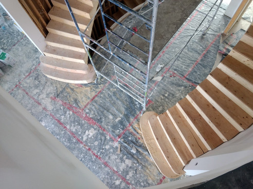 Double Curved Stairs with Commode Steps and Carpet Treads_5