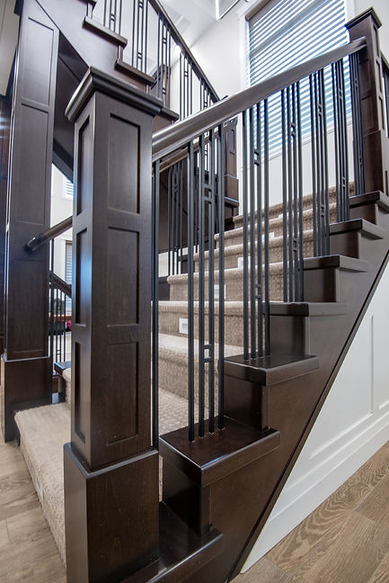 Maple Clad Stairs with 3 Panel Shaker Posts