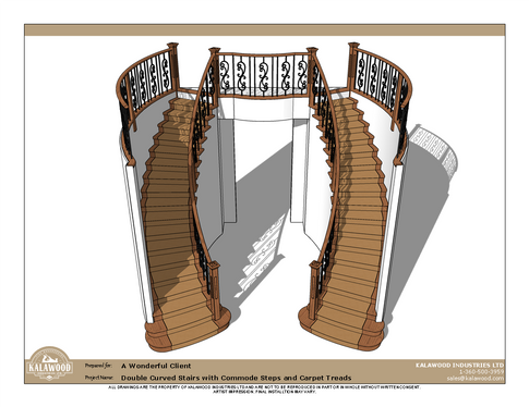 Double Curved Stairs with Commode Steps and Carpet Treads_1