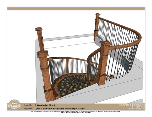Housed Open Rise Curved Staircase with Carpet Treads_2