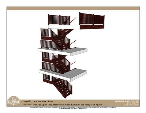 Housed Open Rise Stairs with Wood Spindles and Fully Cladd Apron_1