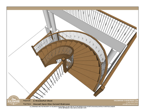 Housed Open Rise Curved Staircase with Butcher Block Treads_2
