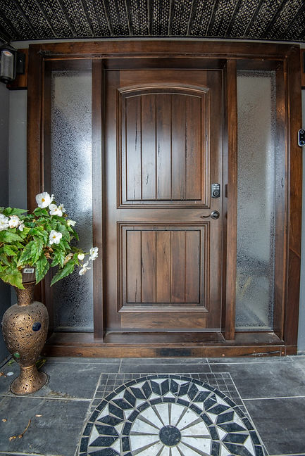 Two Panel Medieval Walnut Exterior Door with Two Frosted Glass Sidelights