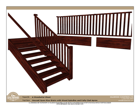 Housed Open Rise Stairs with Wood Spindles and Fully Clad Apron_2