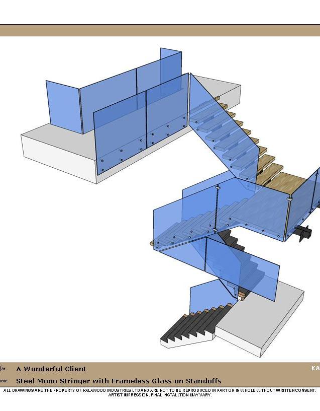Steel Mono Stringer with Frameless Glass
