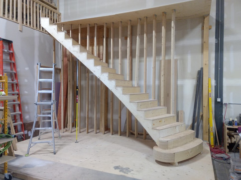 Double Curved Stairs with Commode Steps and Carpet Treads_4