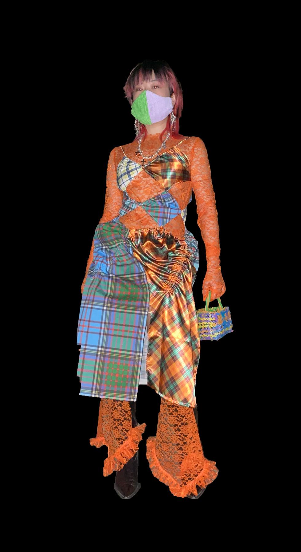 Plaid Patchwork Cutout Dress