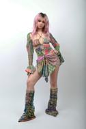 lace-plaid-bungee-cutout-mini-dress-leg-warmers