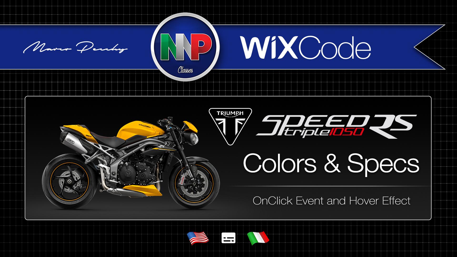 Wix Code - Cores com On Click Event e Especificações com On Mouse In & Out