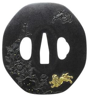 牡丹獅子図鐔 無銘 薩摩金工