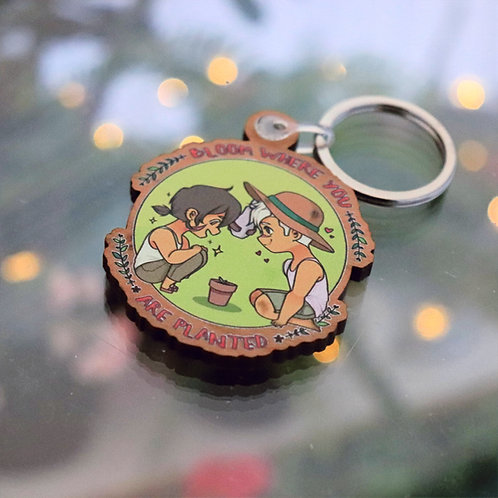 """bloom where you are planted - VLD sheith 2"""" keyrings"""