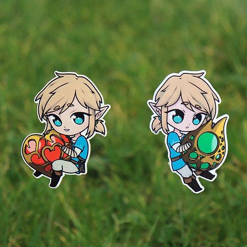 """BOTW - heart/stamina 2"""" stickers"""
