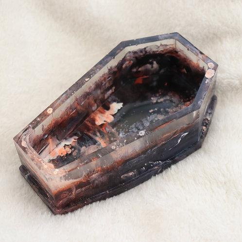 'ablaze' - coffin-shaped resin dish