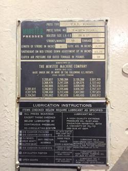 Minster 45 ton press data plate