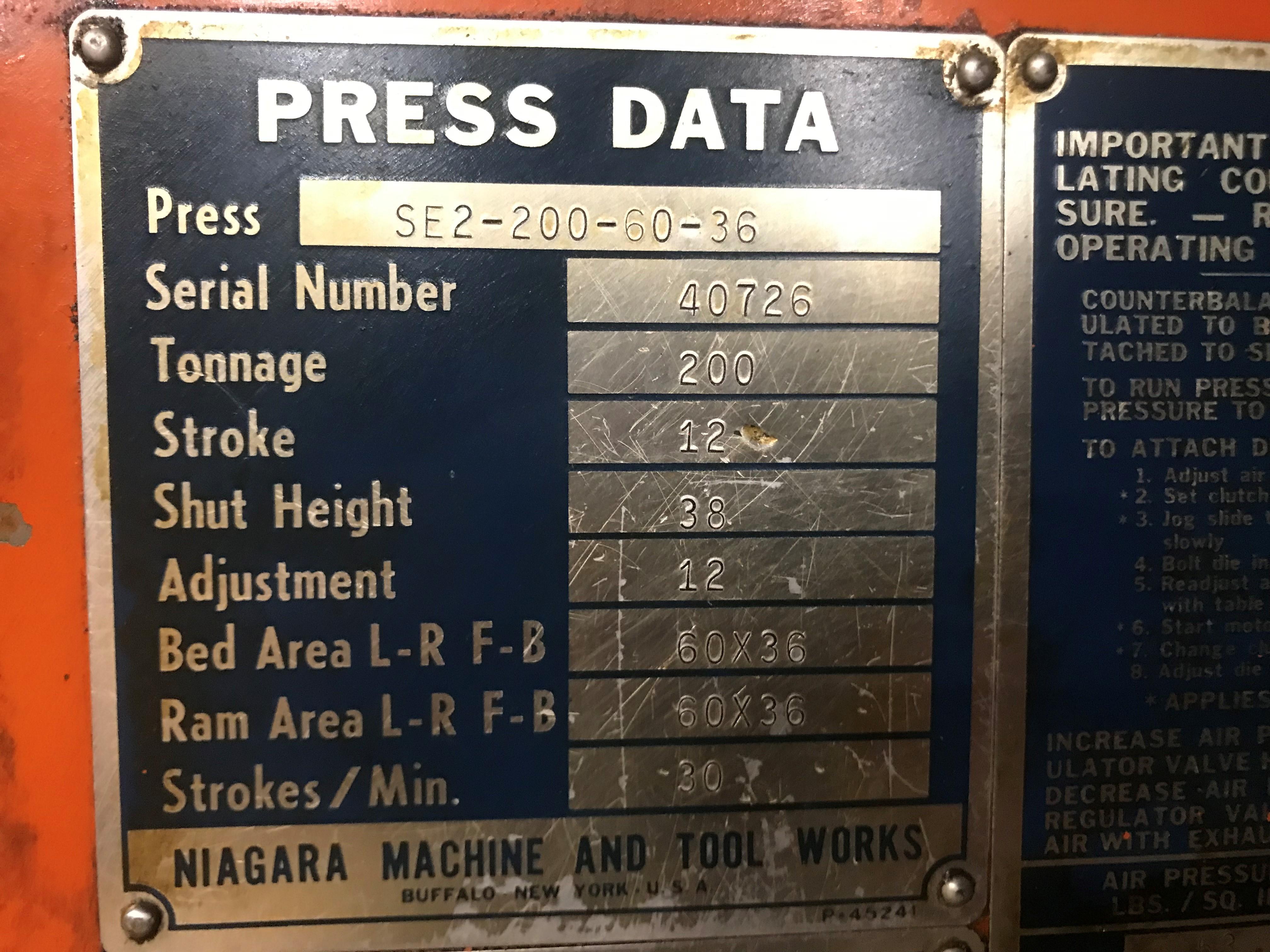 200 ton Niagara data plate
