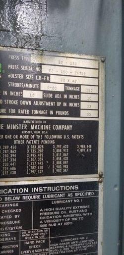 150 ton Minster E2 data