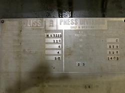 Bliss C-110 data plate