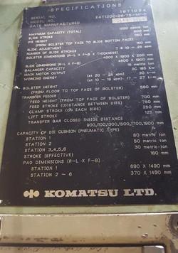 1200 metric ton komatsu data