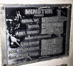 Minster Straightener Data Plate