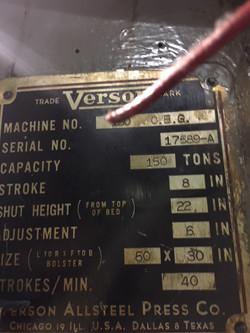 150 ton verson data