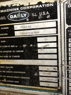 600 ton Danly data plate