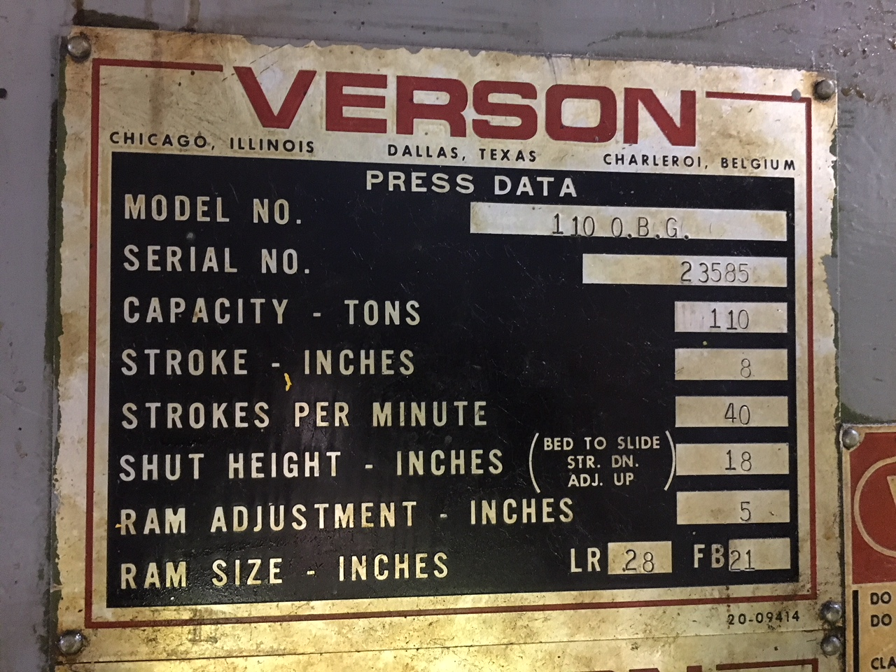 110 ton Verson Data