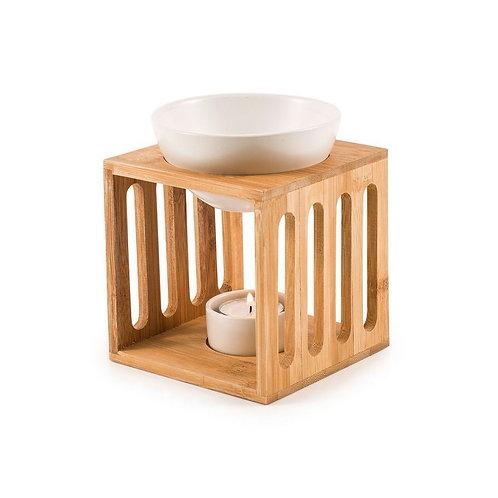 Brûleur grand modèle fondant parfumé / Bambou / Céramique blanche