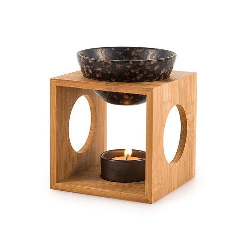 Brûleur fondant parfumé / Bambou / Céramique Noire mouchetée