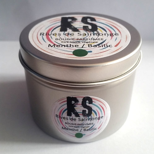 Bougie parfumée naturelle menthe et basilic