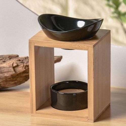 Brûleur Kalos fondant parfumé / Bambou / Céramique noire