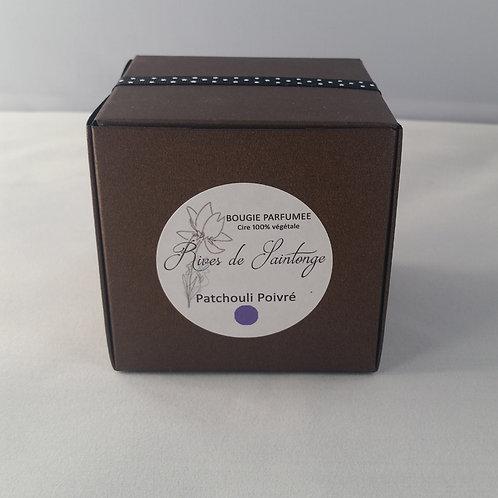 Bougie parfumée naturelle Patchouli Poivré verre