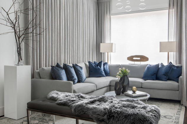 Monochrome style living area at m3m golf estate gurgaon