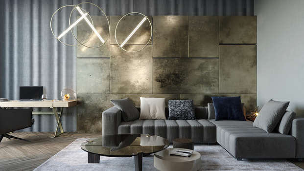 metallic accent wall interior design for trump tower gurgaon