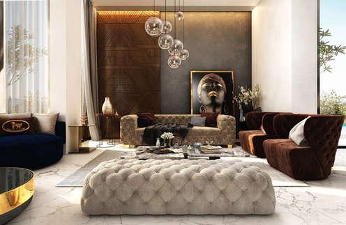 Intimate cozy luxury interiors for mahindra luminare gurgaon